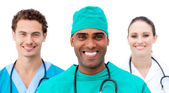 International doctors standing in a row — Stock Photo