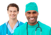Medical team standing in a row — Stock Photo