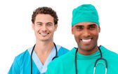 A diverse medical team standing in a row — Stock Photo