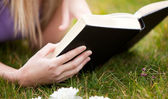 Close-up of a woman reading a book in a park — Stock Photo
