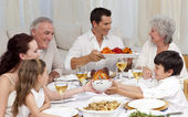Family having a big dinner at home — Foto Stock