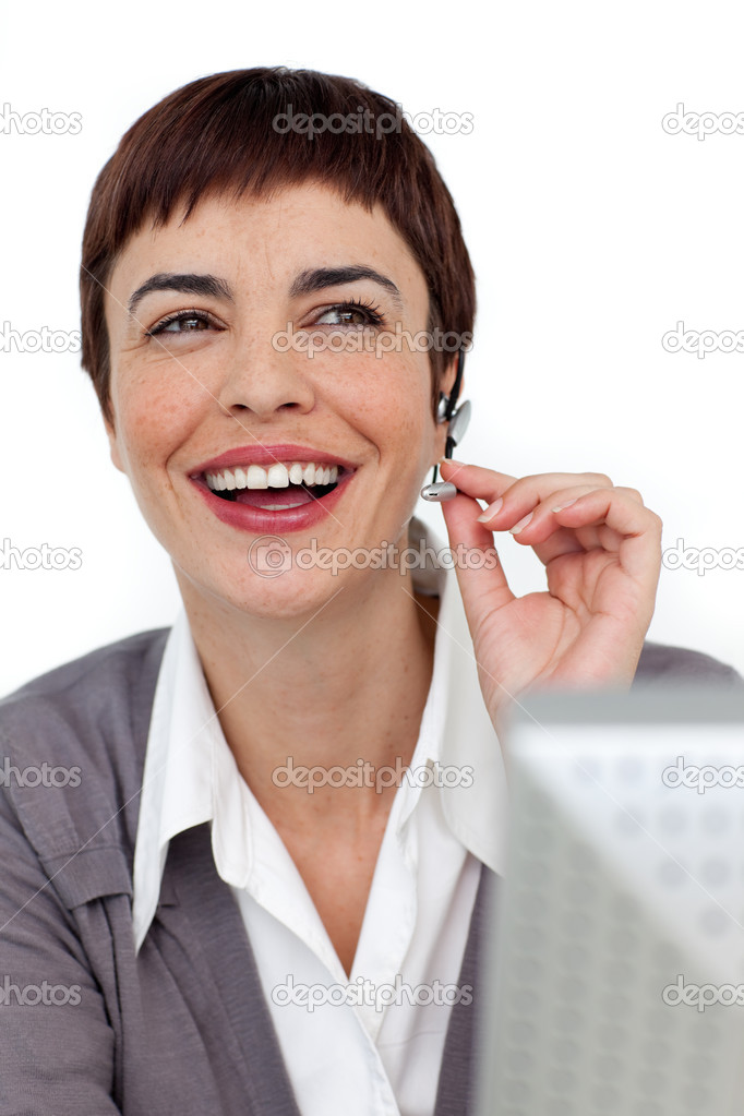 Laughing businesswoman with headset on against a white background — Stock Photo #10290367