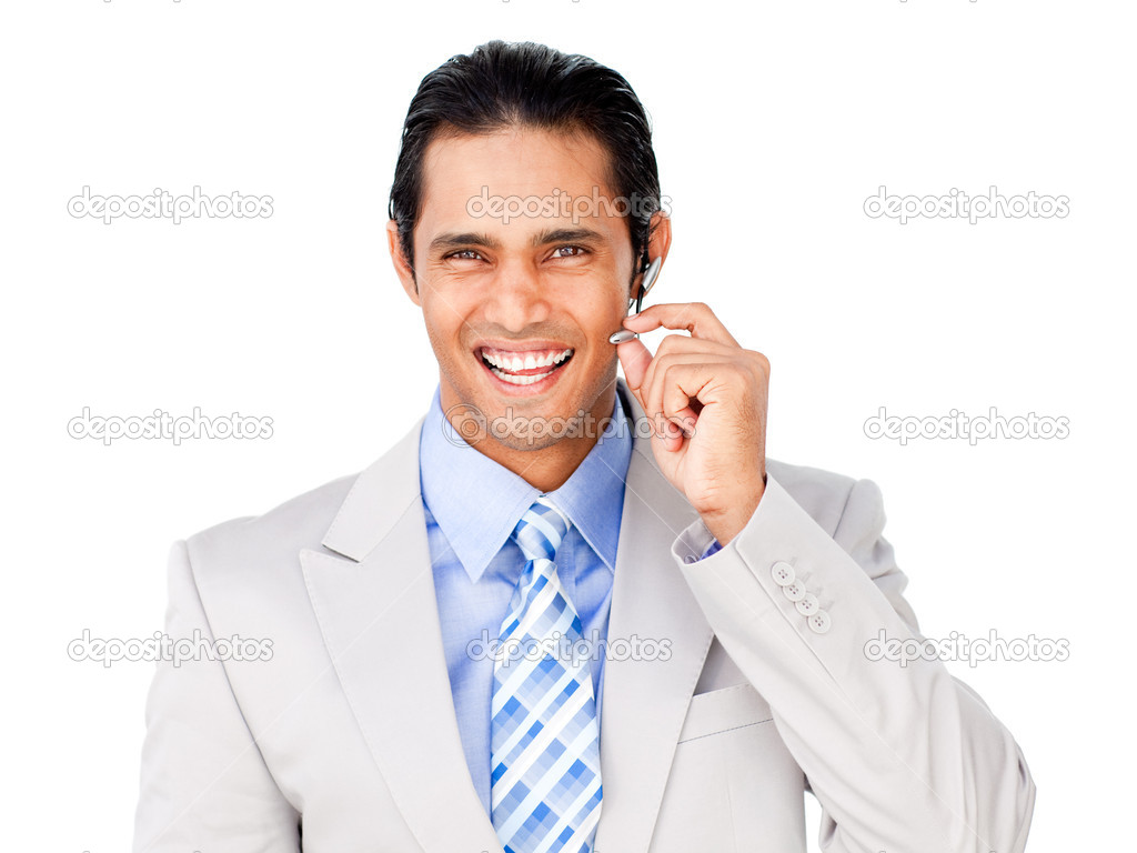 Happy customer service agent with headset on against a white background — Stock Photo #10290583