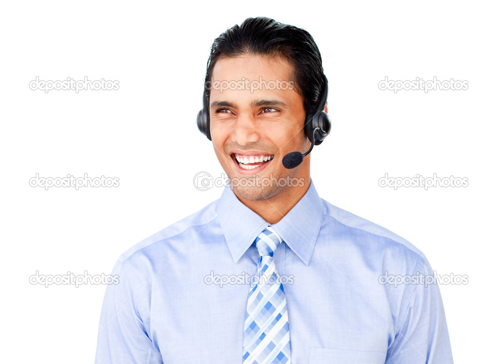 Asian businessman with headset on isolated on a white background — Stock Photo #10290652