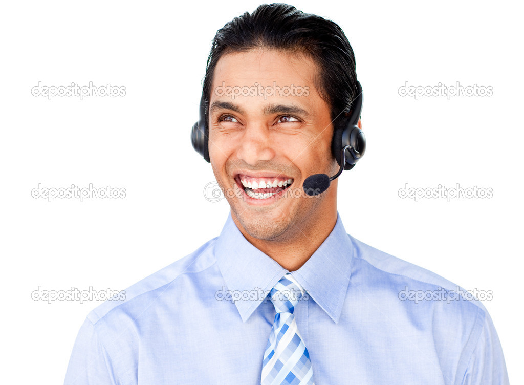Young businessman with headset on isolated on a white background — Stock Photo #10290658