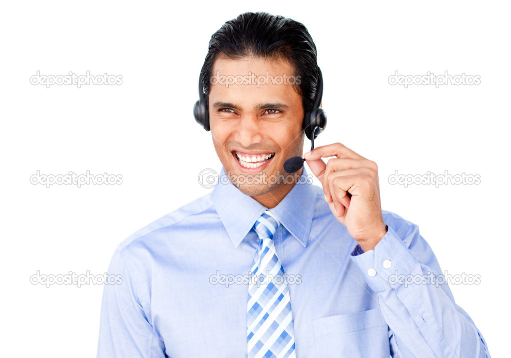 Smiling customer service agent with headset on against a white background — Stock Photo #10290659