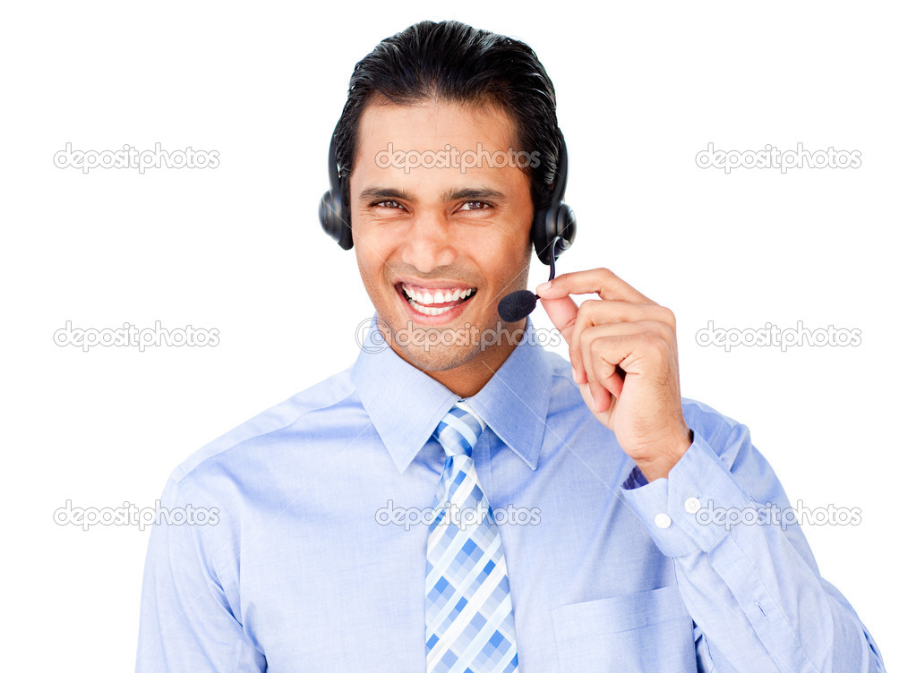 Ethnic businessman with headset on isolated on a white background — Stock Photo #10290660