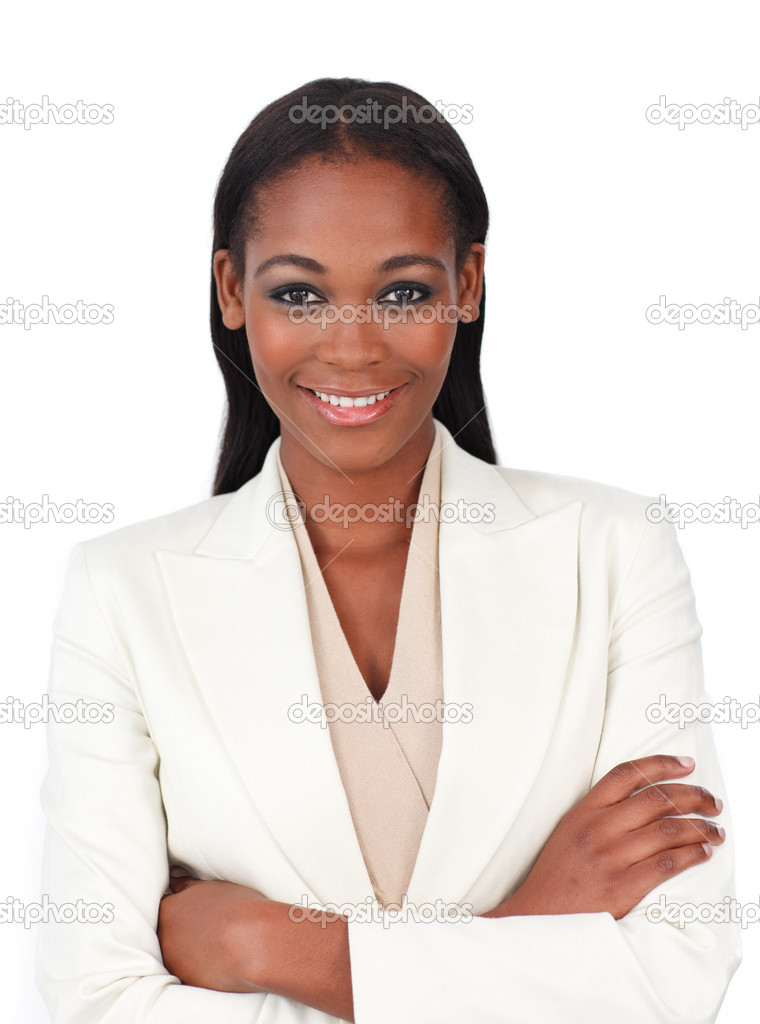 Attractive businesswoman with folded arms isolated on a white background — Stock Photo #10291508