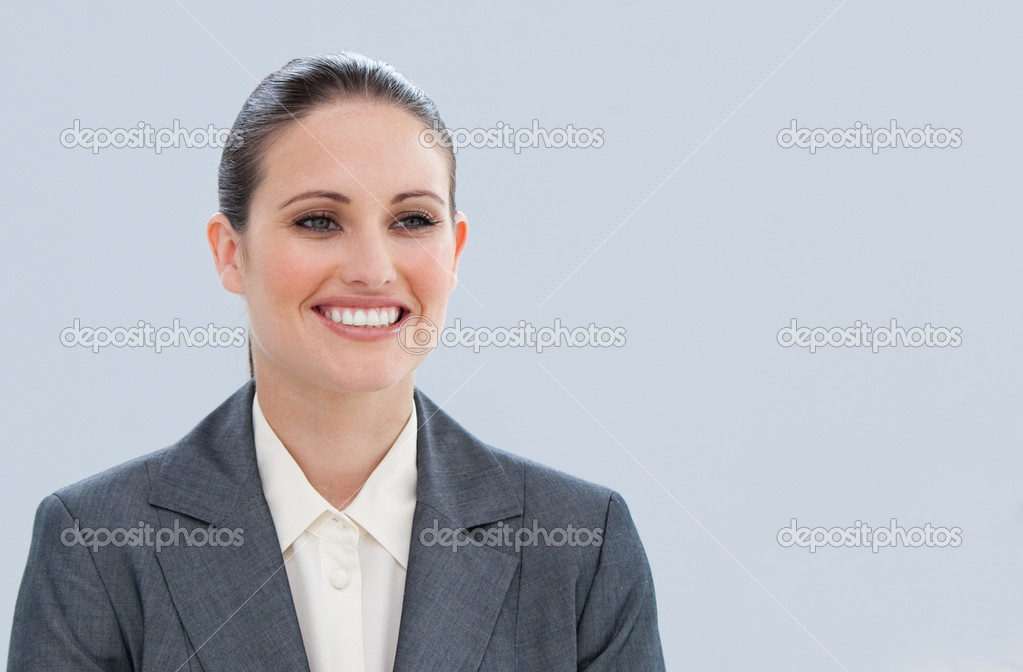 Portrait of a pretty businesswoman against a white background — Stock Photo #10292348