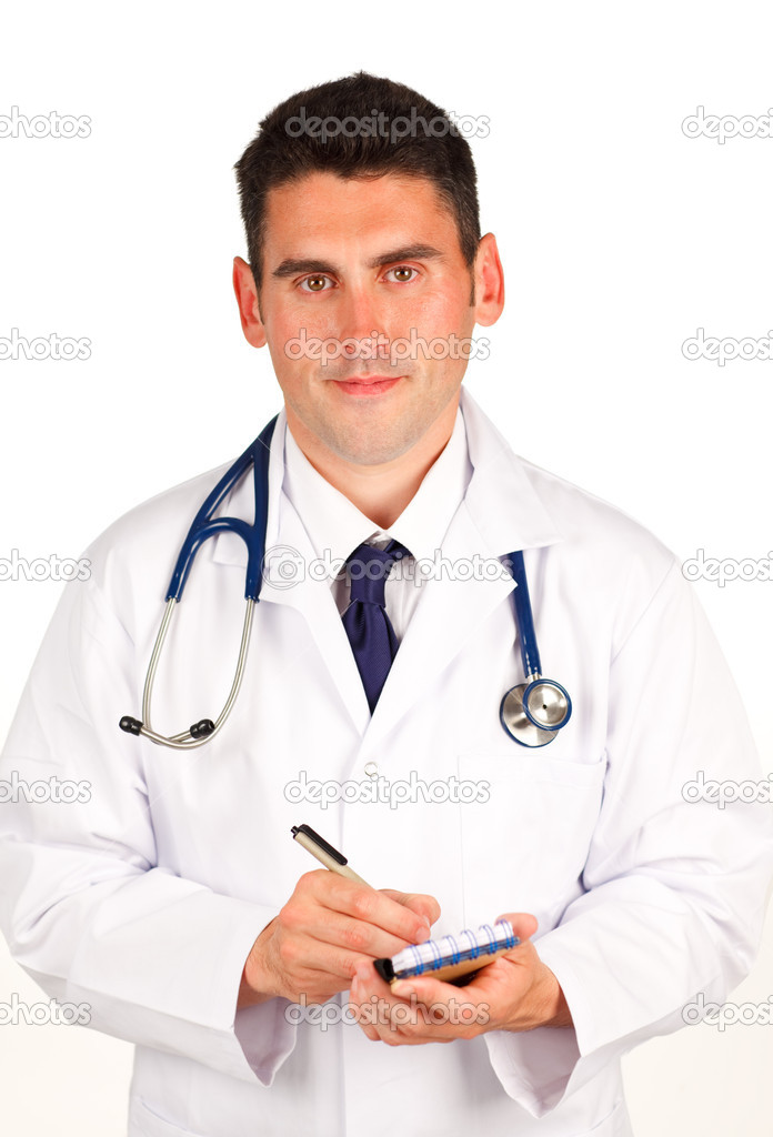 Handsome Doctor writing a diagnosis — Stock Photo #10292801