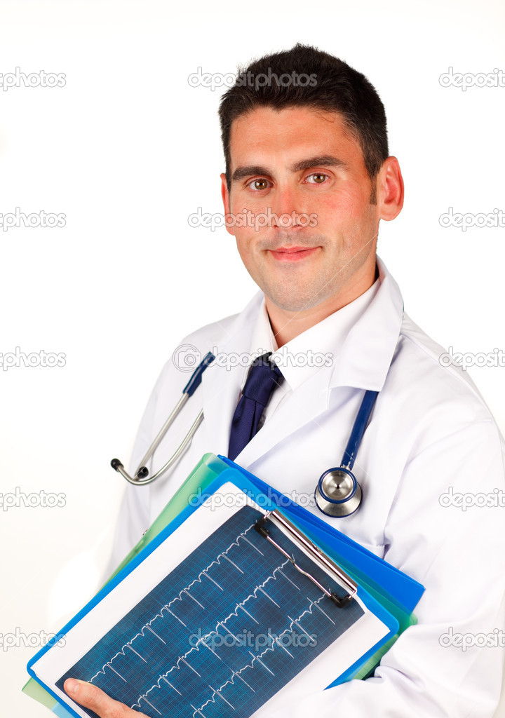 Young doctor holding folders — Stock Photo #10292802