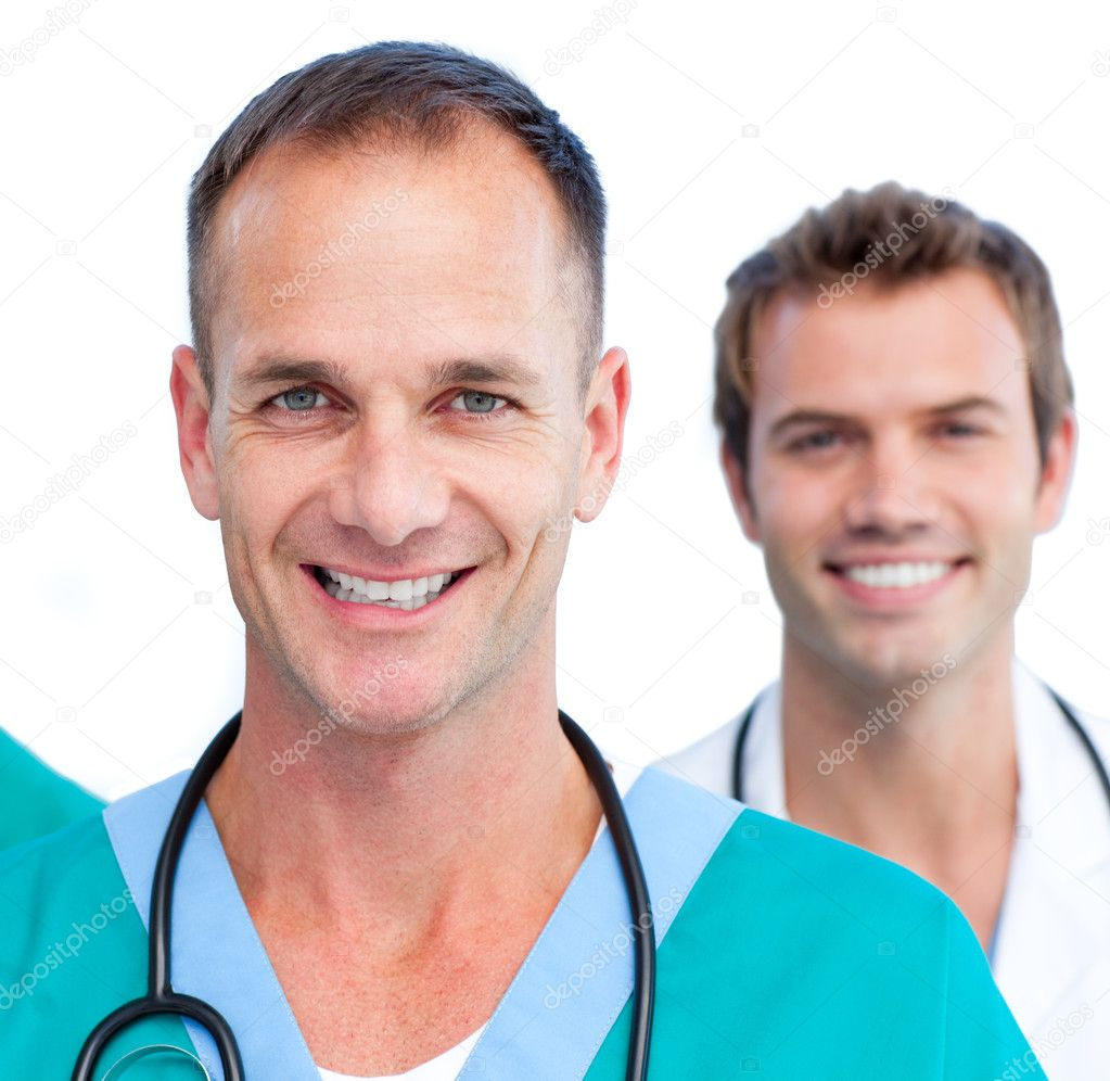 Portrait of two male doctors against a white background — Stock Photo #10295762