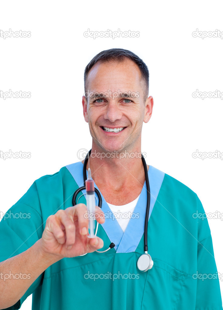 Portrait of a smiling doctor holding a syringe against a white background — Stock Photo #10295860
