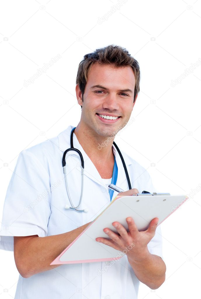 Portrait a charming male doctor writing notes against a white background — Stock Photo #10295872