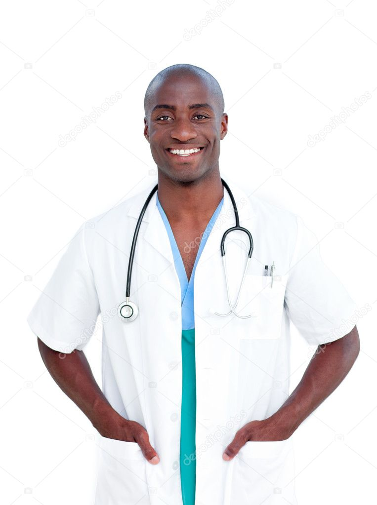 Portrait of an afro-american doctor against a white background  Stock Photo #10295941