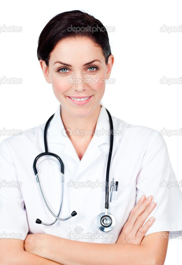 Female doctor with a stethoscope against a white background — Stock Photo #10296663