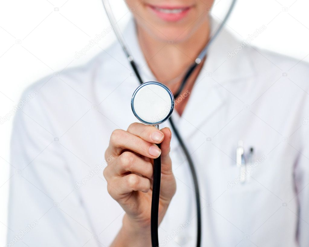 Close-up of a female doctor showing a stethoscope against a white background — Stock Photo #10296670