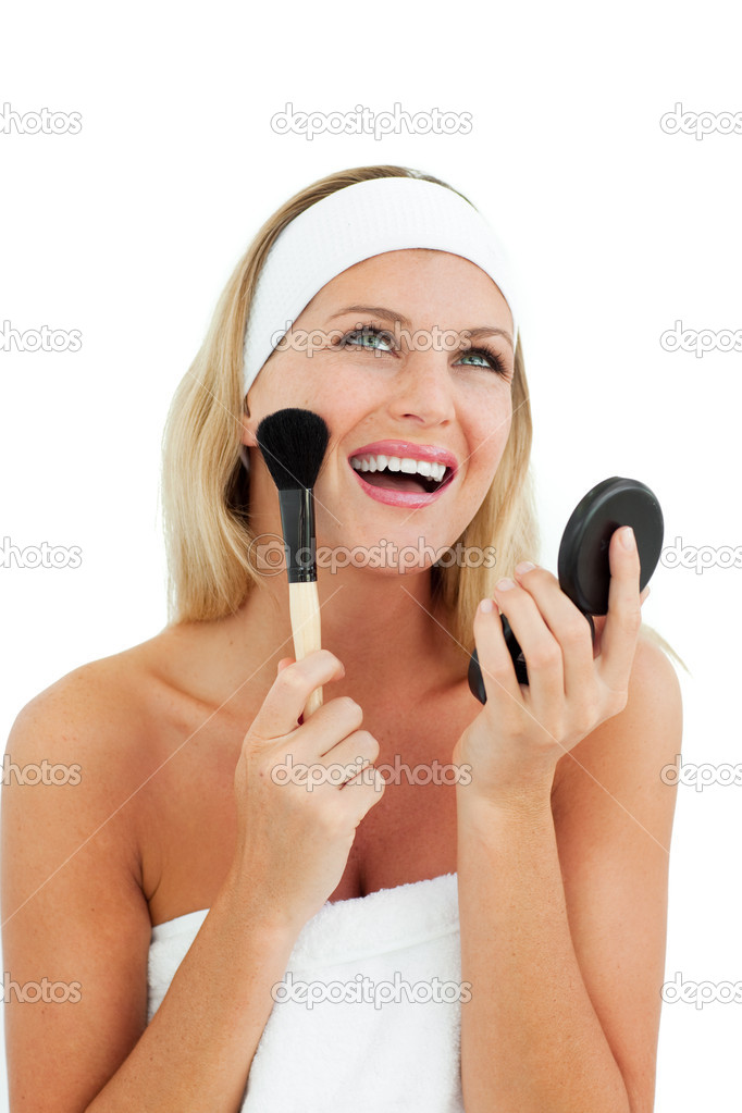Sparkling woman putting on make-up against a white background — Stock Photo #10297461