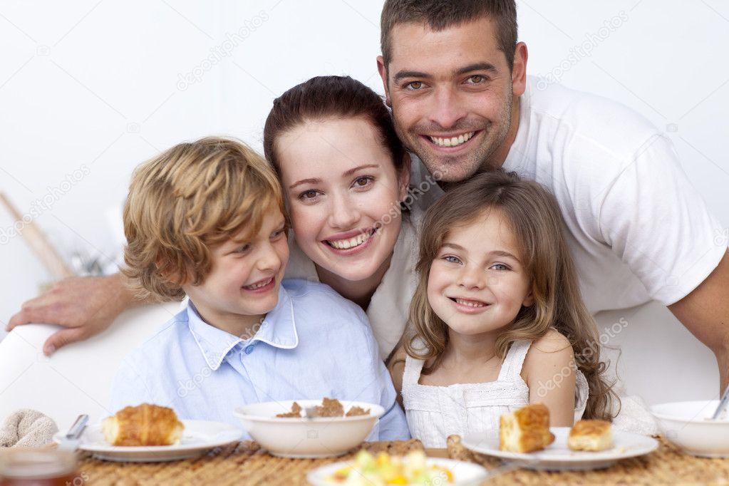 happy family having breakfast  stock photo © wavebreakmedia, Kitchen design