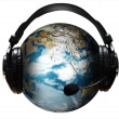 Stock Photo: Ear Phones and ear Piece around a Globe