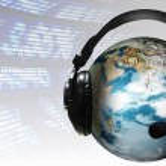 Ear Phones and ear Piece around a Globe — Stock Photo