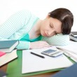 Exhausted student sleeping while studying — Stock Photo