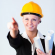 Female Construction worker pointing — Stock Photo