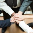 High view of hands together. Concept of union in business - Stock Photo