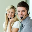Young with headsets — Stock Photo