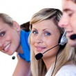 Blonde women in a call center — Stock Photo