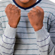Young man with fists Clenched — Stock Photo
