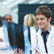 Young doctor looking at an x-ray — Stock Photo