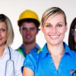 Multi-profession - Doctor, secretary, architect and scientist — Stock Photo