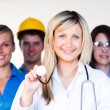 Multi-profession - Doctor, businesswoman, engineer and scientist — Stock Photo