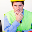 Serious male with hard hat — Stock Photo