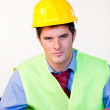 Serious male with hard hat — Stock Photo #10302696
