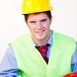 Handsome male with hard hat — Stock Photo