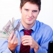Businessperson holding money — Stock Photo