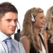 Three in a call centre — Stock Photo