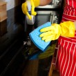 Stock Photo: Close-up of a young woman doing housework