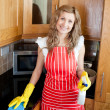 Stock Photo: Cherful woman doing housework