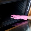 Close-up of a woman cleaning the oven — Stock Photo #10305837