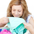 Charming woman doing laundry — Stock Photo