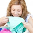 Stock Photo: Charming womdoing laundry