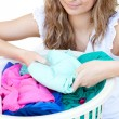 Attractive woman doing laundry — Stock Photo