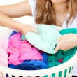 Close-up of a woman doing laundry — Stock Photo
