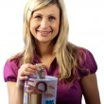 mulher, poupar dinheiro — Foto Stock