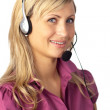 Young business woman talking on a headset — Stock Photo #10307116