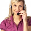 Young business woman talking on a headset — Stock Photo #10307179