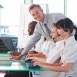 Business working in a call centre — Stock Photo